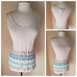 Sigrid Olsen Crochet Knit Tunic Top Silk Cotton